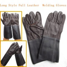 Long Style Full Cowhide Dark Color Welding Gloves Wear-resisting  Protective Work Gloves