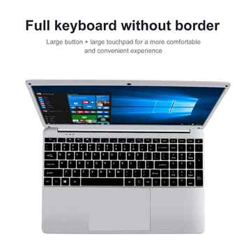 15.6 Inch 1080P Laptop Windows 10 Intel E8000 Quad Core 4GB RAM 64GB 128GB 256GB SSD Notebook with Full Layout Keyboard