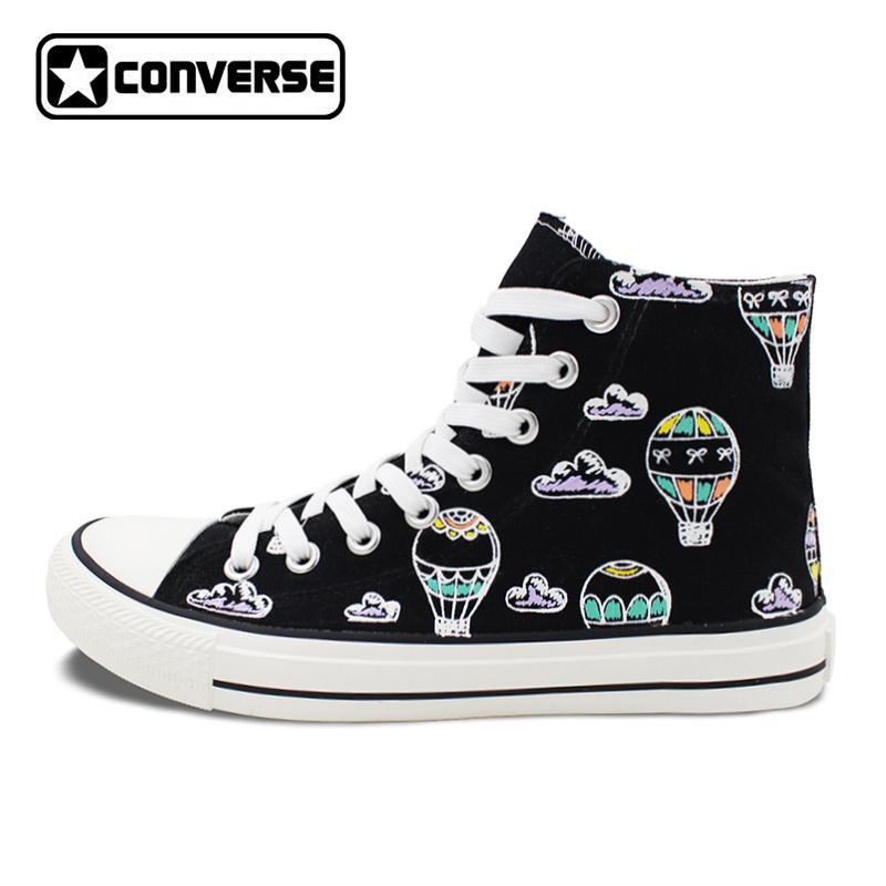 Original Design Fire Balloons Clouds Hand Painted Skateboarding Shoes Converse Men Women Black High Top Canvas Sneakers