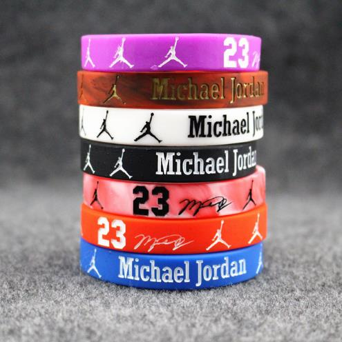 buy online a2232 405d2 7pcs Basketball Stars Jordan signature Bracelet Adult Kid silicone bracelet  Fitness Black White Luminous Couple Wristband Bangle