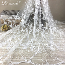 3yard/lot Mesh Embroidery Plum branch Blossom Branches Breathable White tulle Lace Fabrics For Clothing Wedding Dress