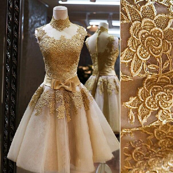 Short Gold prom   dresses   2019 vestidos coctel robe   cocktail   Vintage Royal Lace   Cocktail     Dresses   Prom   Dress   Vestido De Novia
