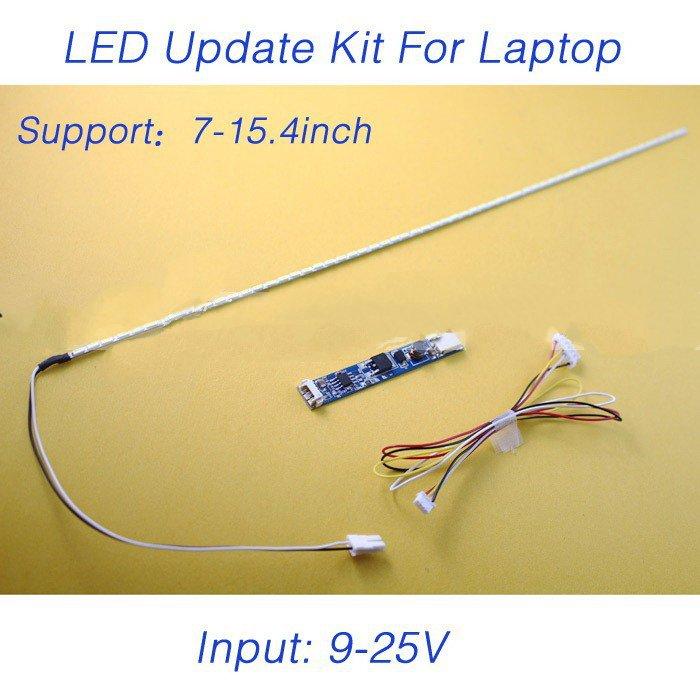 2pcs X LCD Laptop Dimable LED Backlight Lamps Adjustable Light Update Kit Strip+Board 9-25V Input Free Shipping