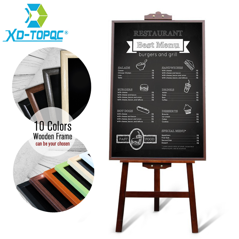60*90cm Restaurant Menu Chalkboard Magnetic Blackboard Pine MDF Wood Frame Black Message Boards With Easel Factory Direct Sell