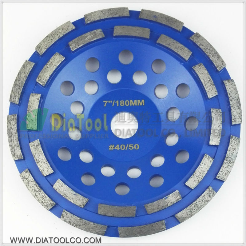 DIATOOL 7/180mm Diamond Double Row Grinding Cup Wheel For Granite And Hard Material, Bore 22.23mm With 16mm Washer 2pcs 5inch diamond single row cup wheel for concrete masonry diamond grinding wheel diameter 125mm bore 22 23mm grinding disc