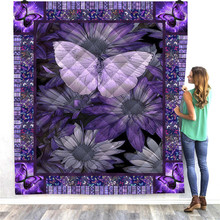 SOFTBATFY Purple Butterfly Flower Quilt For Kids Adult Bed Soft Warm Blanket Dropshipping