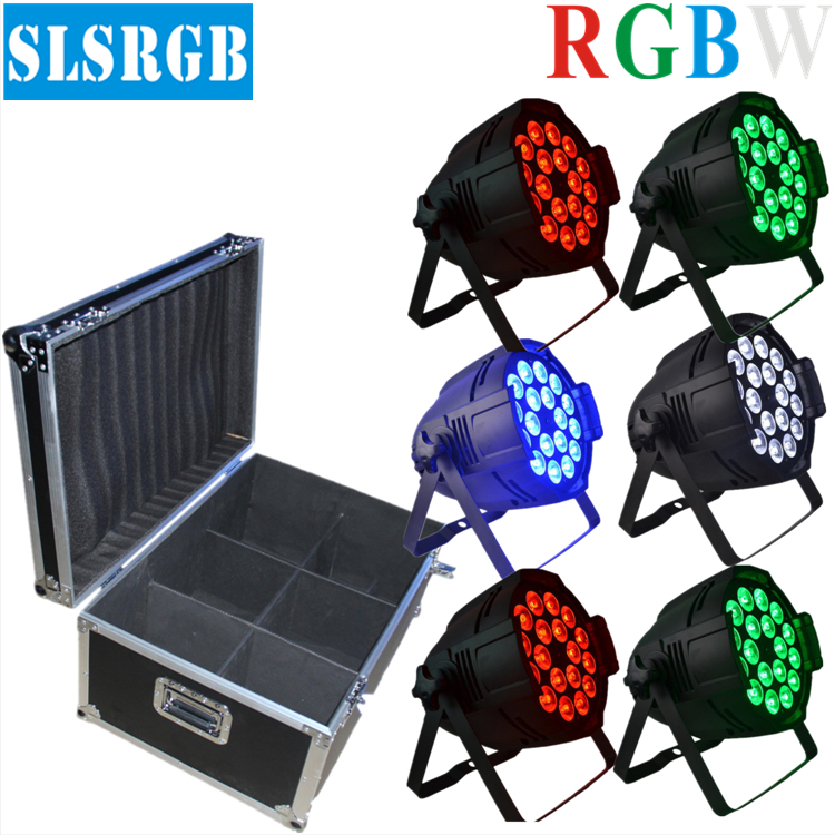 6pcs/lot&flight case DJ PAR 64 18x12w LED LIGHT 4in1 RGBW 8ch DMX512 STAGE PARTY SHOW PAR 64 Quad Par Light Stage Lighting