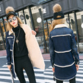 Женщины меховой воротник куртки зима/осень женские Джинсовые пальто дамы Кашемир верхняя одежда теплый хлопок длинная Шерсть джинсы парки y74