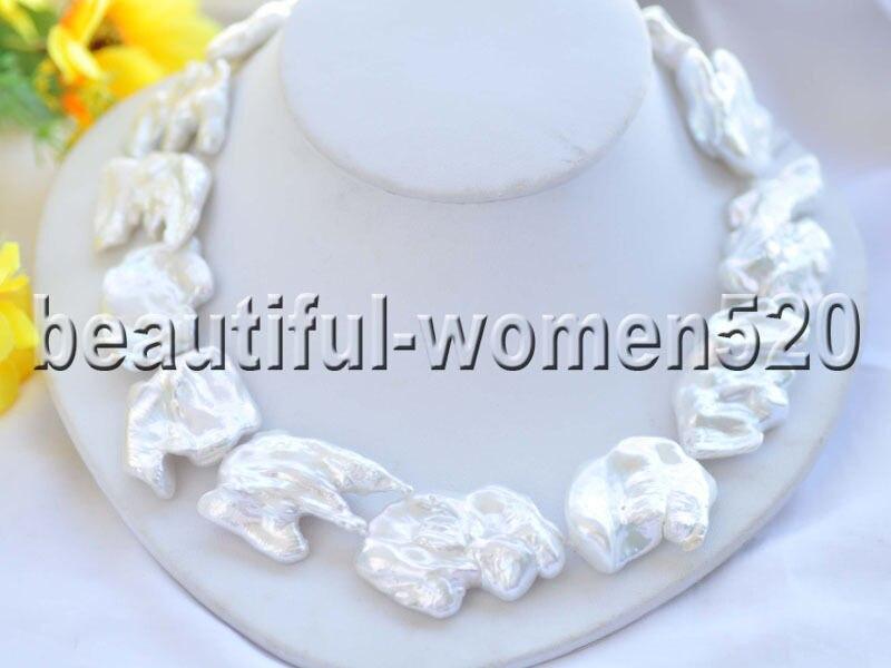 Z8467 18 40mm blanc BAROQUE KESHI REBORN collier de perles 18 poucesZ8467 18 40mm blanc BAROQUE KESHI REBORN collier de perles 18 pouces