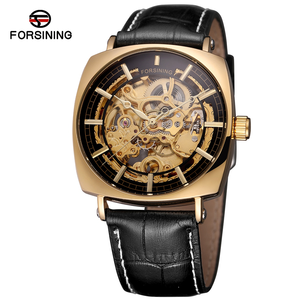 FORSINING Self Wind Automatic Watch Men Luxury Leather Mechanical Watches Fashion Man Skeleton Wristwatch Clock Relogio Mecanico стрельба из лука