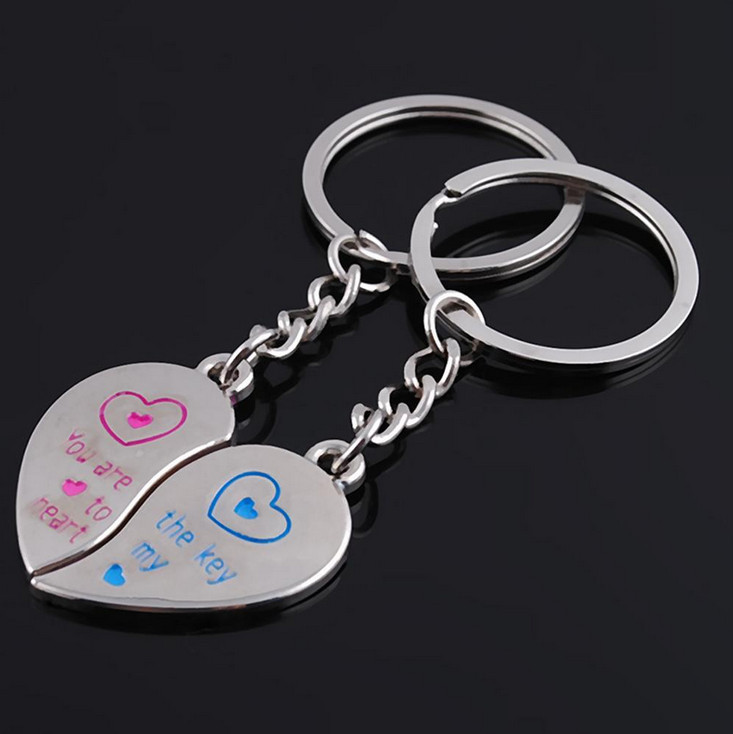 One Pair Lover Key Chain Romatic Love Heart Couple Keychain Best ...