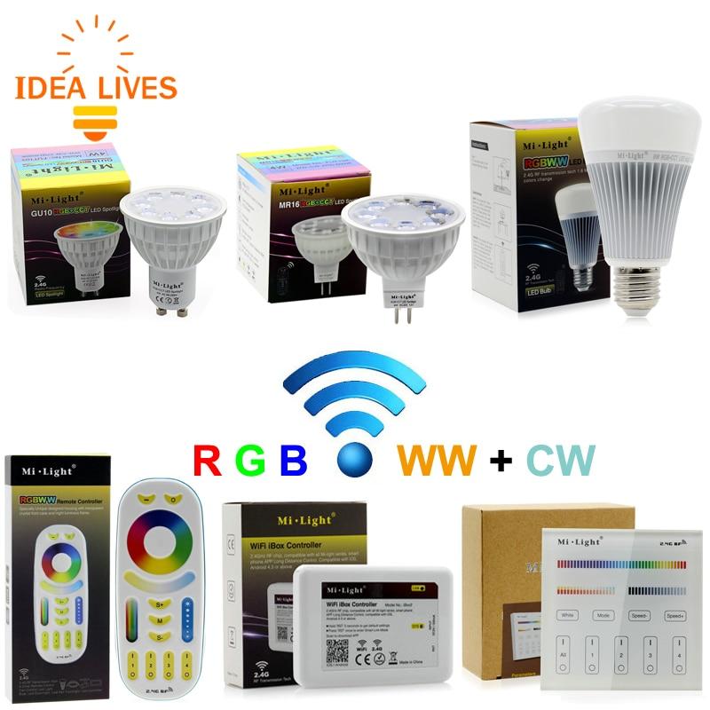 Mi light Full Color LED Bulb LED Spotlight GU10 MR16 4W E27 8W RGB+CW+WW Remote Control Smart Lighting