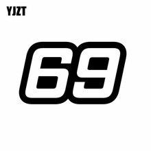 YJZT 15,2 см* 8,8 см индивидуальный номер 69 виниловая Автомобильная наклейка графическая наклейка черный/серебристый C11-0885