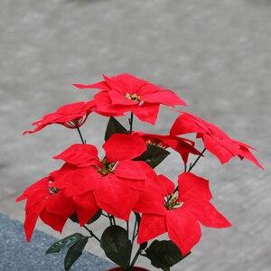 Image 3 - Franela de tacto Real flores artificiales Navidad rojo Poinsettia arbustos Ramos adornos de árbol de Navidad centro de mesa