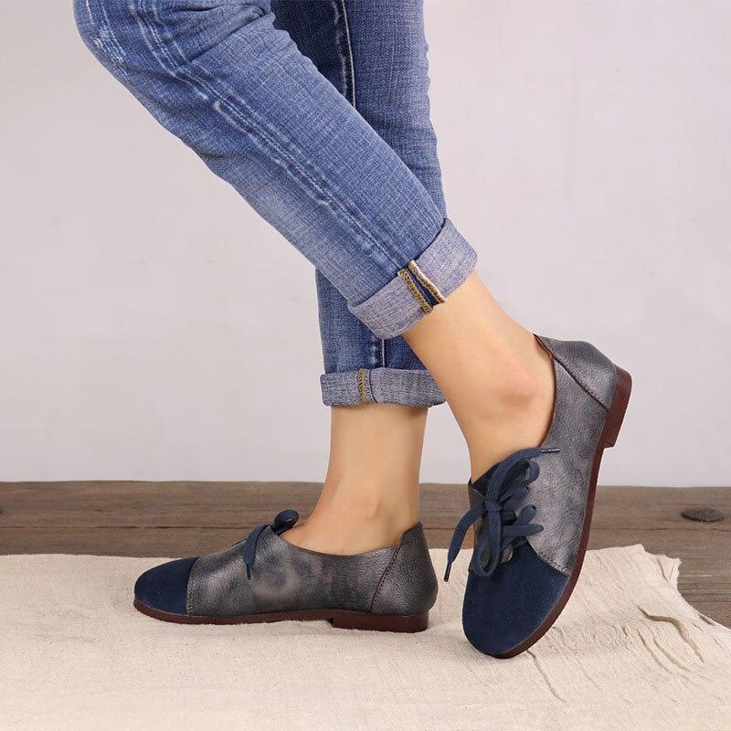 2018 ربيع جديد الأصلي اليدوية خمر جلدية أحذية نسائية جولة رئيس سير منبسط مع لينة أسفل الأدبي سين حذا فردي للسيدات-في أحذية نسائية مسطحة من أحذية على  مجموعة 2