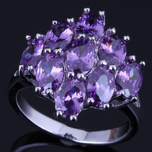 Charismatic Oval Purple Cubic Zirconia 925 Sterling Silver Ring For Women V0422