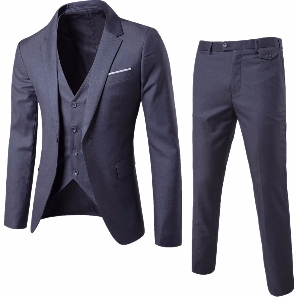 Sensfun Man Suit Blazers Casual Business costume homme One Button Groomsman's Wedding Suit Jacket+Vest+Pants 3 Piece Suits sets
