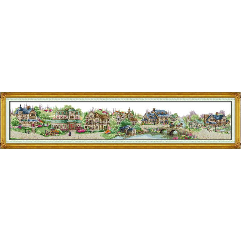 Everlasting Love Christmas European Town Ecological Cotton Cross Stitch 11CT And 14CT Printed  New Year Sales Promotion