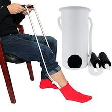Sock Wearing Horn Device Slider Easy On /off Sock Aid Kit No Bending Stretching Straining For Elderly Senior Pregnant Diabetics# mayitr 1pc sock slider aid blue helper kit helps put socks on off no bending shoe horn suitable for socks