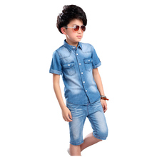 Big Virgin Teens Children Boys Summer School Short Sleeve Cotton Denim T Shirt+Shorts Jeans Clothing Sets Tracksuit For Boys New