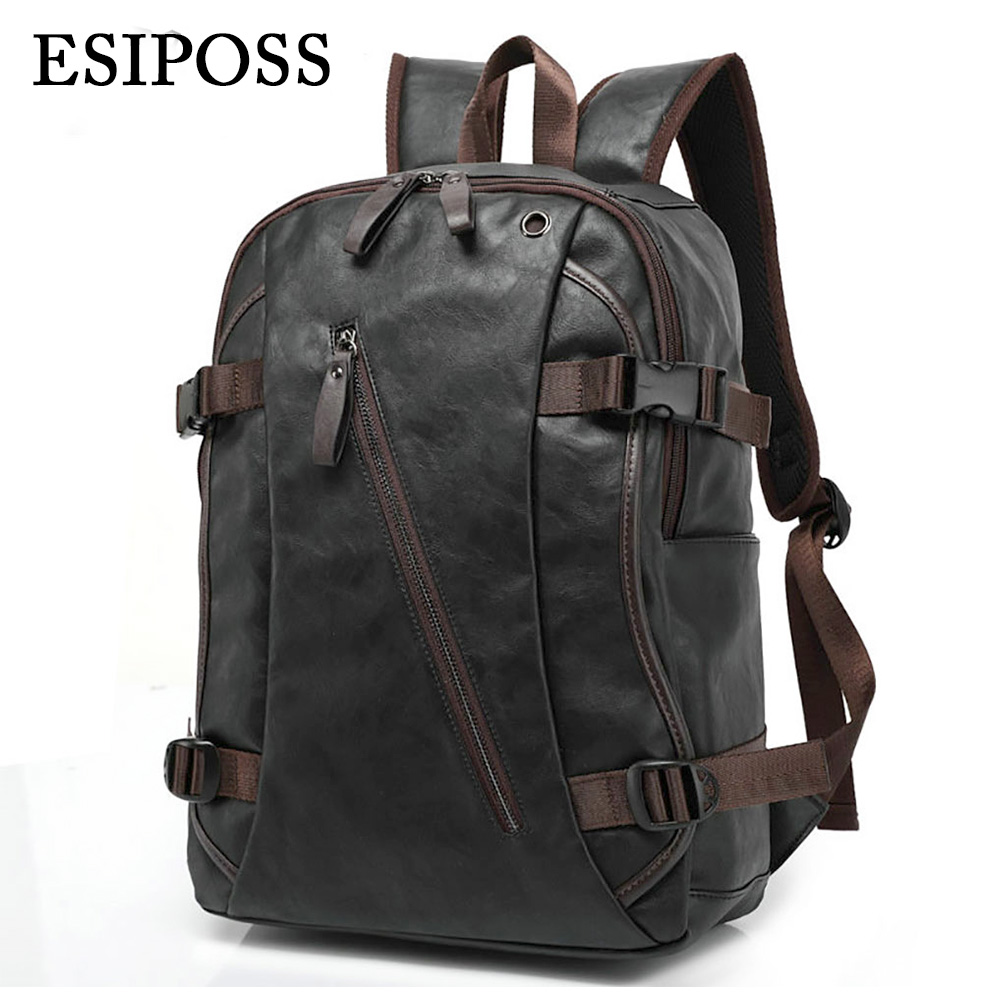ФОТО Luxury Brand Backpack Mens High Quality PU Leather Vintage Black Men Male Casual Travel Bags Backpack for Laptop