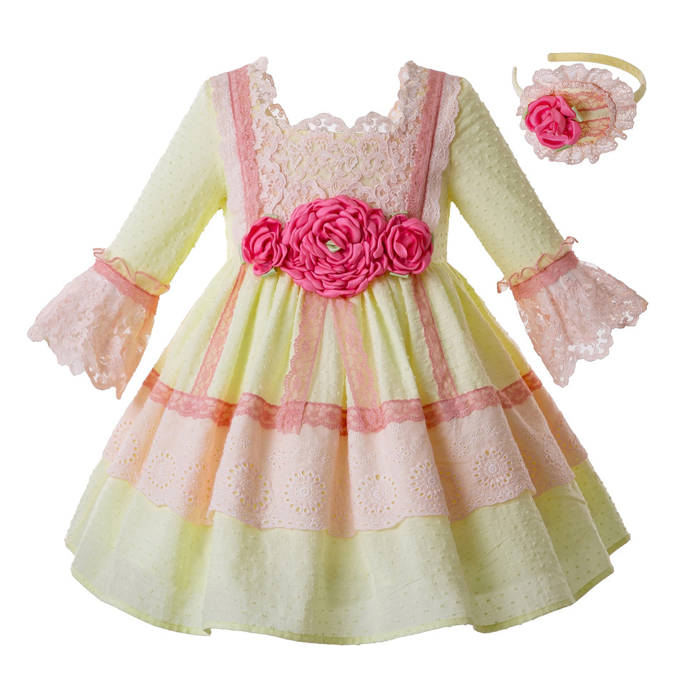 Pettigirl Yellow Spring Summer Dress For Girl Pink Flower Princess Wedding Party Lace Flower Wedding Dress