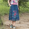 Blue Embroidery Flowers A Line Denim Skirt 2017 Elegant Women Calf Length Casual Jeans Skirts Pencil Skirt Spring Summer Autumn
