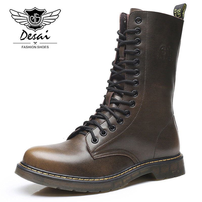 DESAI Brand Men Shoes British Genuine Leather High Boots Men s Flat Boots Retro Tooling Boots