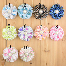 50 pcs/lot Lace flowers with Pearls DIY headband Flowers supplies Hair Accessories