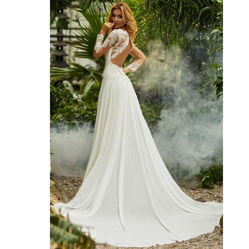 Ivory Long Sofuge A Line Appliques Lace Chiffon Beach Boho Wedding Dress Gown Sofuge Vestido De Noiva Dubai Arabic Suknia Slubna in Wedding Dresses from Weddings Events