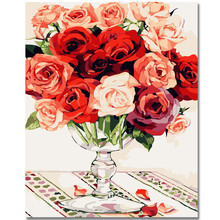 WEEN Red Rose-DIY Oil Painting By Numbers,Framed Wall Picture,Oil Canvas Paint Numbers Home Decor Picture 40x50cm