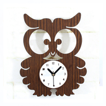 OUYUN Forest Animal Cute Owl Clock Retro Wood Wall Clock Creative Garden Mute