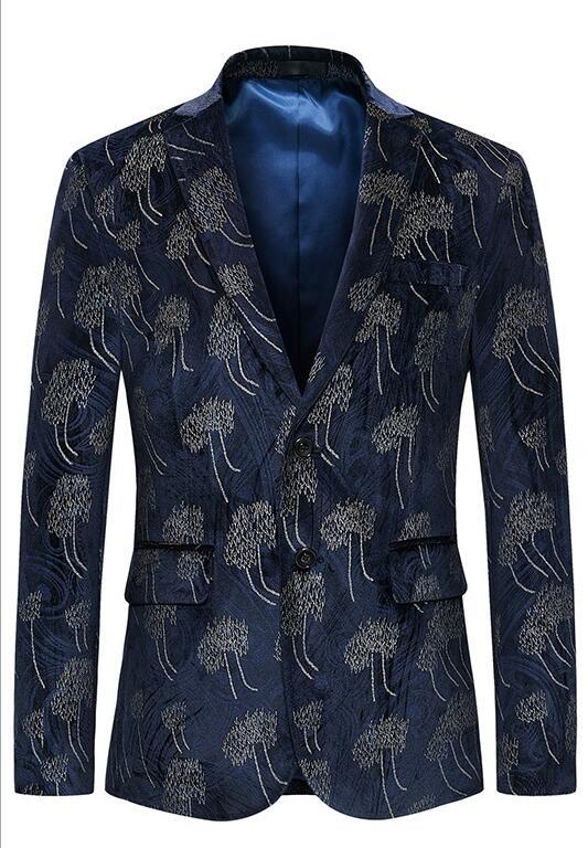 Printemps automne décontracté veste hommes impression blazer masculino slim fit casaco jaqueta masculina deux boucles manteaux hommes costumes coréen - 2