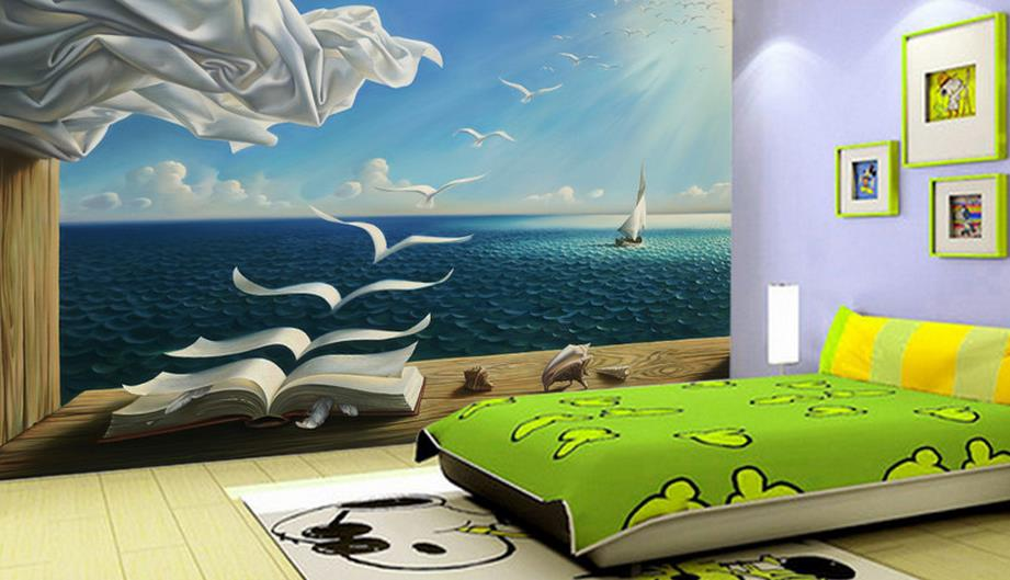 3d Mural Wallpaper Creative Blue Sky Books TV Background Walls Non Woven 3 D