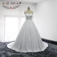 Rose Moda Simple Strapless Bridal Satin Ball Gown With Removable Bow Classic Satin Wedding Dress With