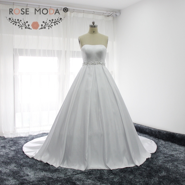 Rose Moda Simple Strapless Bridal Satin Ball Gown with Removable Bow ...
