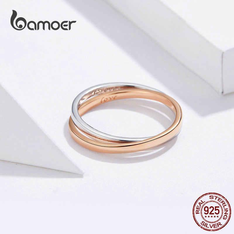 Bamoer バイオカラーダブル指輪 925 シルバーのカップルの婚約指輪と男性ローズゴールドカラージュエリー BSR053