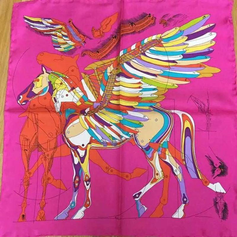 52x52cm Horse Print Small Square Silk   Scarf   Women Ladies 100% Pure Silk   Scarves     Wraps   Necktie Fashion Accessories