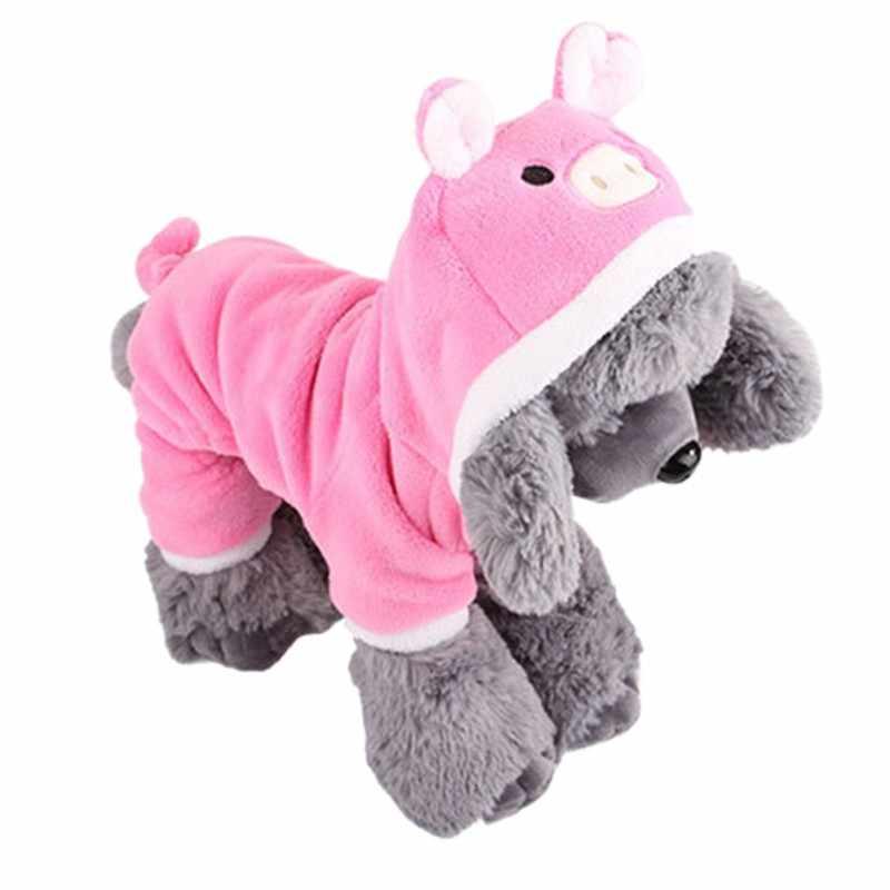 Одежда для собак с капюшоном, теплый бархатный комбинезон для щенка кораллового цвета, зимние комбинезоны для собак, забавный маскарадный костюм свинки, пальто для домашних животных, костюмы для кошек