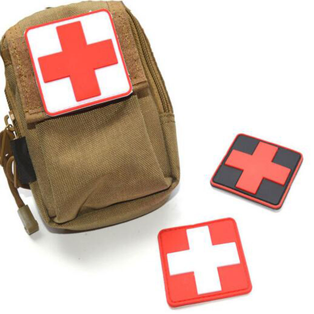 SODIAL R Outdoor First Aid PVC Red Cross Hook Badge Patch