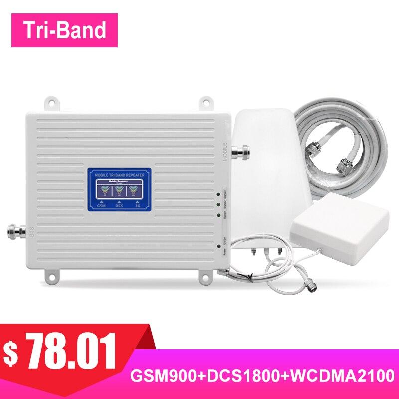 Répéteur TriBand 900 1800 2100 2G 3G 4G amplificateur de Signal cellulaire LTE FDD UMTS GSM DCS WCDMA Kit réseau de Communication Internet #
