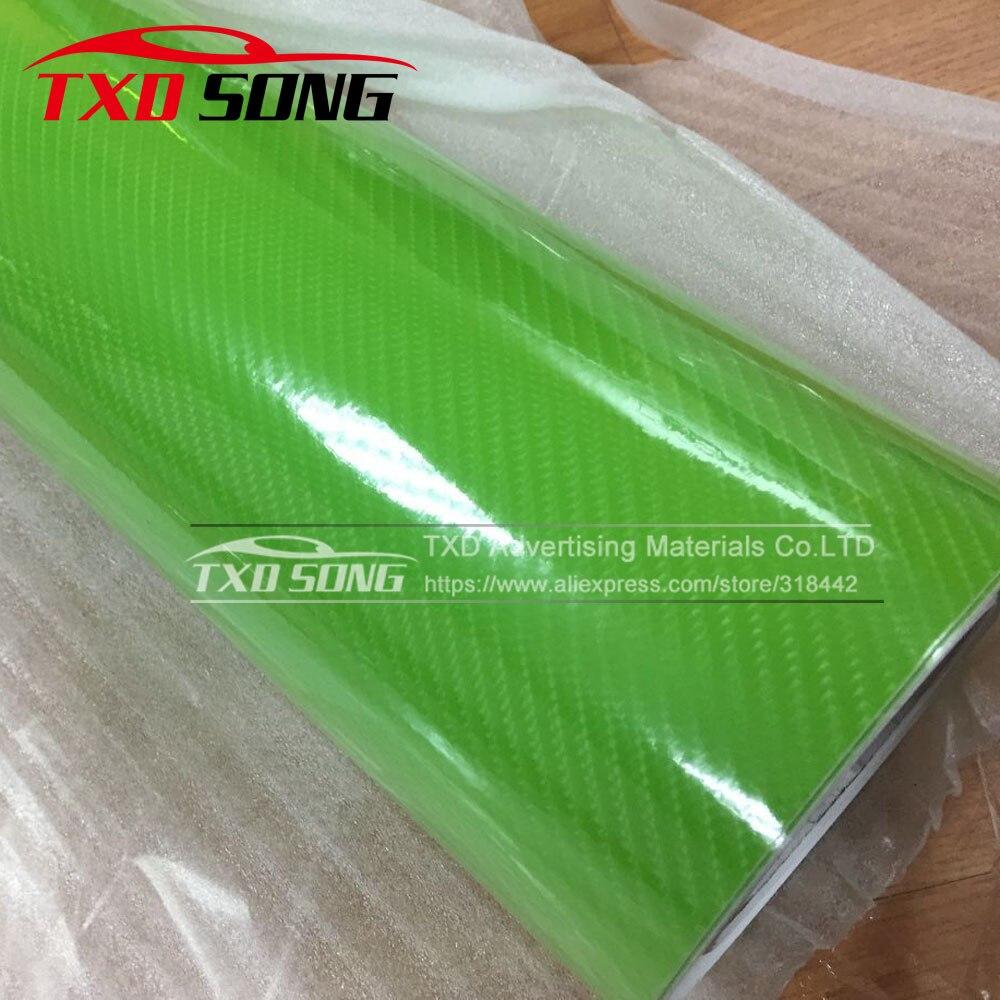 Высокое качество ультра-синий глянец 5D углеволоконная виниловая Обёрточная бумага 4D текстура супер глянцевая 5D углерода Обёрточная бумага s с 10/20 Вт, 30 Вт/40/50/60X152 см - Название цвета: green