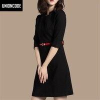 Sonbahar Ofis Elbise Üç Çeyrek Kollu A-line Siyah Elbiseler Streç Ince Çalışma Kadınlar Elbise Kemer Artı Boyutu S-3XL Dahil