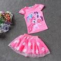 2017 New Summer Children Clothing Sets Little pony T-Shirt+Tulle Tutu Skirt 2pcs Suit Kids Casual Sport Suit Girls Clothes Set