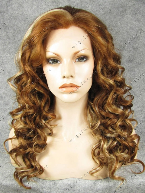 Hot Sell 20 Inch Brown Mixed Blonde Kinky Curly Hair Synthetic Lace