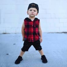 UK Kids Toddler Baby Boy Sleeveless Tank Vest T-shirt Hooded Clothes Outfit Set(China)