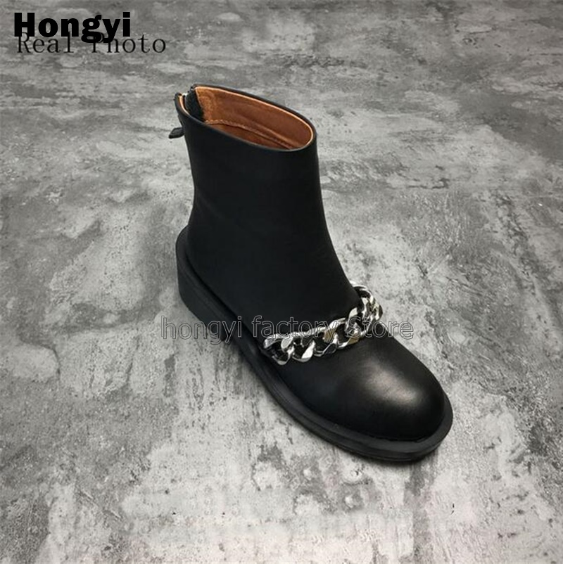 Basic Black Leather Ankle Boots Women Autumn Winter Martin Shoes Woman Low Heeled Chains Motorcycle Boots With Zipper in Ankle Boots from Shoes