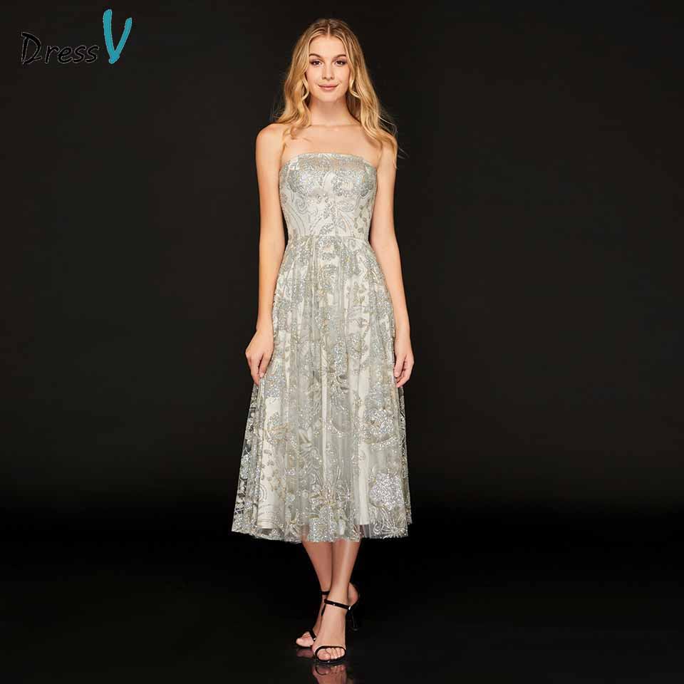 Dressv strapless   cocktail     dress   draped sleeveless a line zipper up tea length wedding party formal   dress     cocktail     dresses