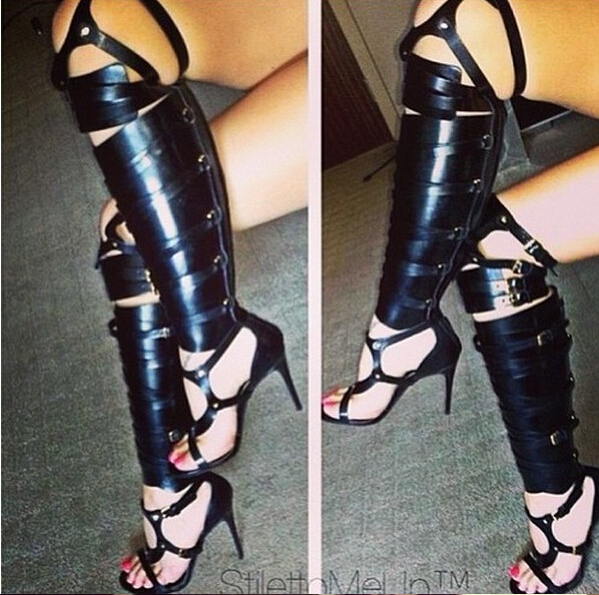Big Size 13 Hot Selling Shinning Gold/Silver Over The Knee Boots Designer Gladiator Cut-out Buckle Sandals Summer Shoes Women