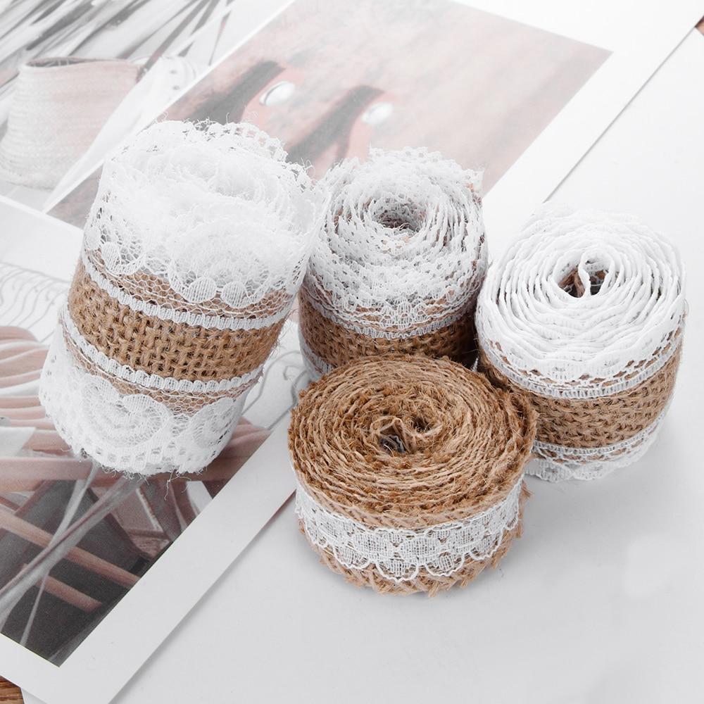 1m/roll width 2.5cm Natural Jute Burlap Lace Edge Hessian Ribbon Satin Bow Rustic Vintage Sisal Trim Craft Wedding Party Supply